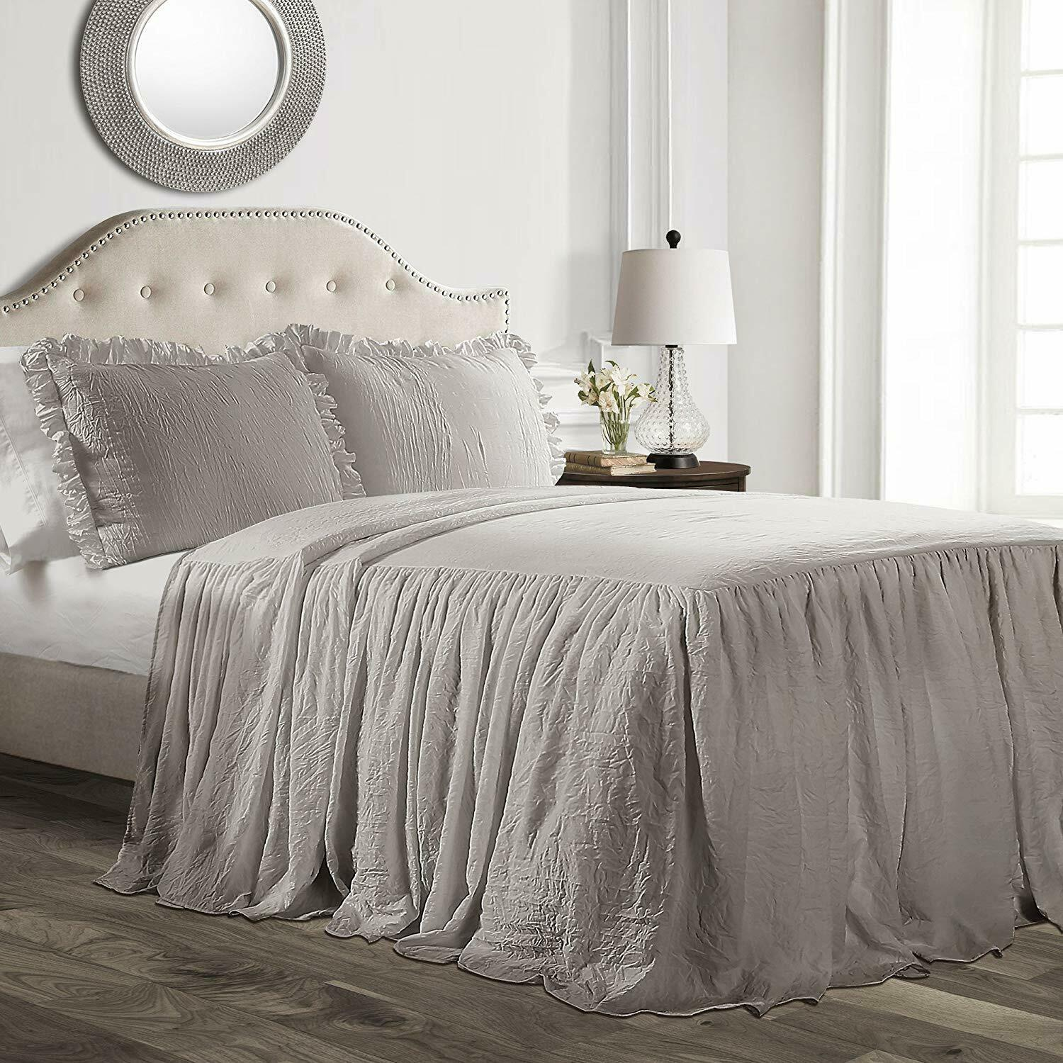 Gray Grey Twin Full Queen King Size Solid Ruffled Farmhouse Bedspread Set Shams Ebay