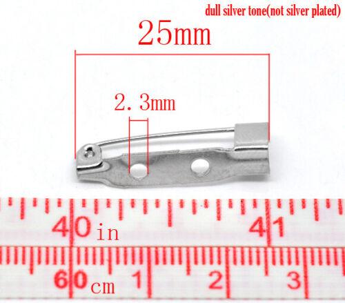 Reino Unido 86H 50 Tono Plata 25mm Broche Pin espaldas//espacios en blanco ~ Clips ~ ~ ~ Pins insignia Navidad