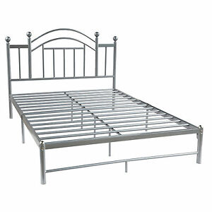 Full Size Metal Platform Bed Frame With Headboard Steel Silver