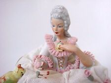 DRESDEN LACE - LACED VERY RARE AND NICE FIGURE LADY WITH FRENCH BULLDOG & PARROT