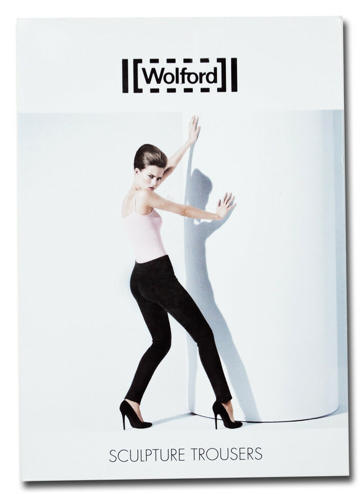 NEW NEU WOLFORD schwarz hose sculpture trousers    in box  small 9fe7d6