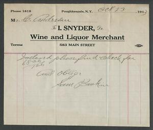 Poughkeepsie-NY-1913-ISAAC-SNYDER-WINE-AND-LIQUOR-MERCHANT-583-Main-St-Billhead