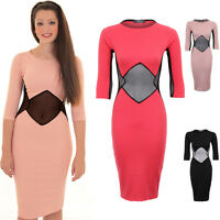 Ladies 3/4 Sleeve Ribbed Mesh Net Cut Out Stretch Bodycon Midi Knee Length Dress