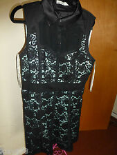 KAREN MILLEN UK14 CUTE FEMININE BLACK LACE DRESS DQ241 NEW WITH TAGS