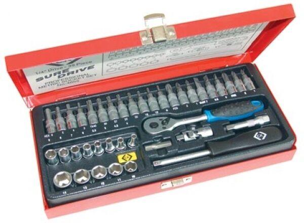 """CK Tools T4655 Sure Drive Socket Set 1/4"""" Drive c/w 39 Pieces & Metal Case"""