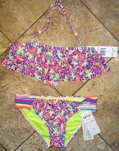 34a1197764 Details about NWT Roxy Hawaiian Ocean Rainbow Floral Swimsuit 2 Piece 2pc  Set Bikini Girl's