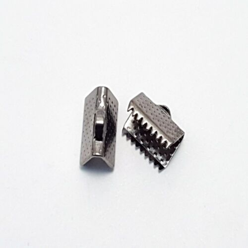 50 pieces 10x6mm Black Plated Folding Crimps ribbon ends Connectors A6703k2-ac