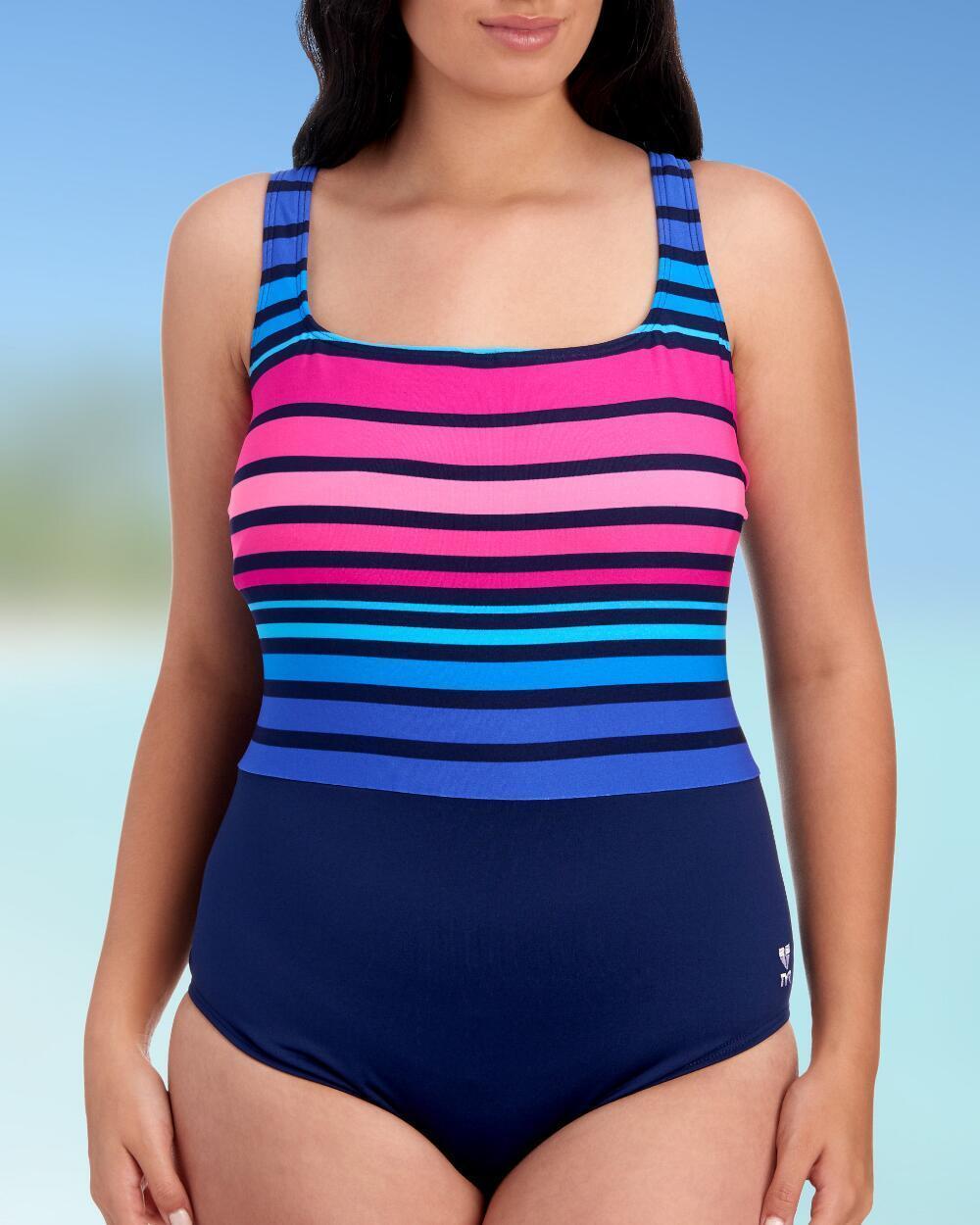 NEW TYR Women's Ombre Stripe Aqua Controlfit Navy Pink Plus Size 24