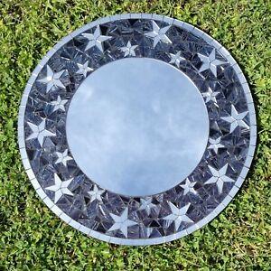 Mosaic-Mirror-Star-Design-Wall-Silver-Glass-Stars-Fair-Trade-Hand-Made-Black