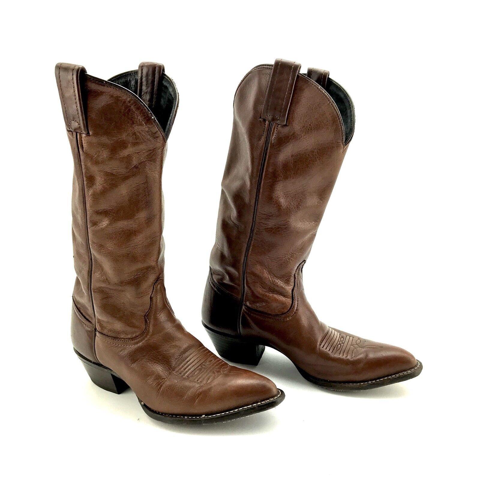 TONY Lama Marrone Pelle Stivali Da Cowboy Stile Vintage Taglia REG 1014 L 6 M REG Taglia 17415376 7a77ee