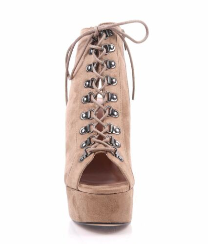 """2 Color Lace Up Faux Suede Open Toe Ankle Height Womens 5.5"""" Chunky Block Heels"""