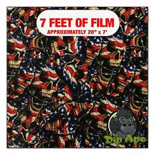 Hydrographic Film Flag Skulls Hydro Dip Dipping 7 X 20 Us Flags