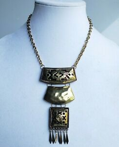 Macy-039-s-Tri-Tone-Metal-Statement-Necklace-with-tag-Southwest-design