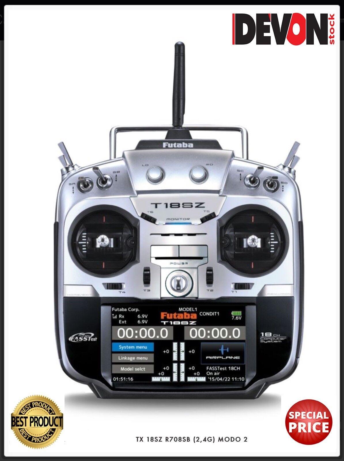 Radiocouomodo rc Futaba 18SZ ricevente R7008SB MODE2 Elicottero a scoppio  nitro  comprare a buon mercato