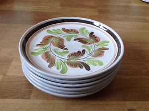 REDUCED-6-Dinner-Plates-by-Denby-Glyn-Colledge-Handpainted-1960-70s