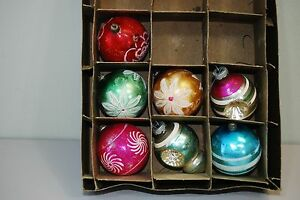 Vintage-Very-Old-Mercury-Glass-Christmas-Ornaments-SHINY-BRITE-Indent