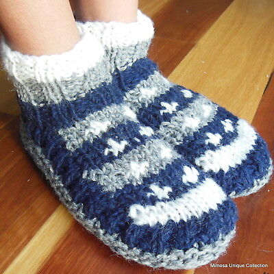 Woollen Socks Nepalese Hand Knitted Lined Fleece Charcoal Slippers Room Shoes