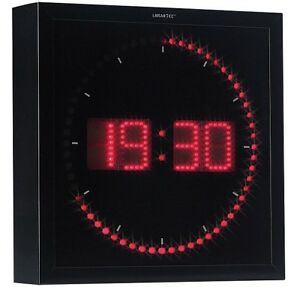horloge digitale murale avec 60 led rouge lunartec ebay. Black Bedroom Furniture Sets. Home Design Ideas