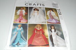 """NEW Six Outfits McCalls Pattern # 3138-11-1//2/"""" Fashion Doll Barbie Clothes"""