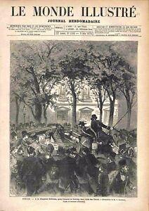 Berlin Kaiser Guillaume Ier attentat de Nobiling Allée des Tilleuls GRAVURE 1878 - France - Berlin Kaiser Wilhelm/William I attack Nobiling Alley of lime trees France ATTENTION,QUE LA COUVERTURE, PAS LE JOURNAL ENTIER. Just the cover, not newspaper. ANTIQUE PRINTGRAVURE 100 % DÉPOQUE 1878 PORT GRATUIT EUROPE A PARTIR DE 4 OBJETS BUY 4  - France
