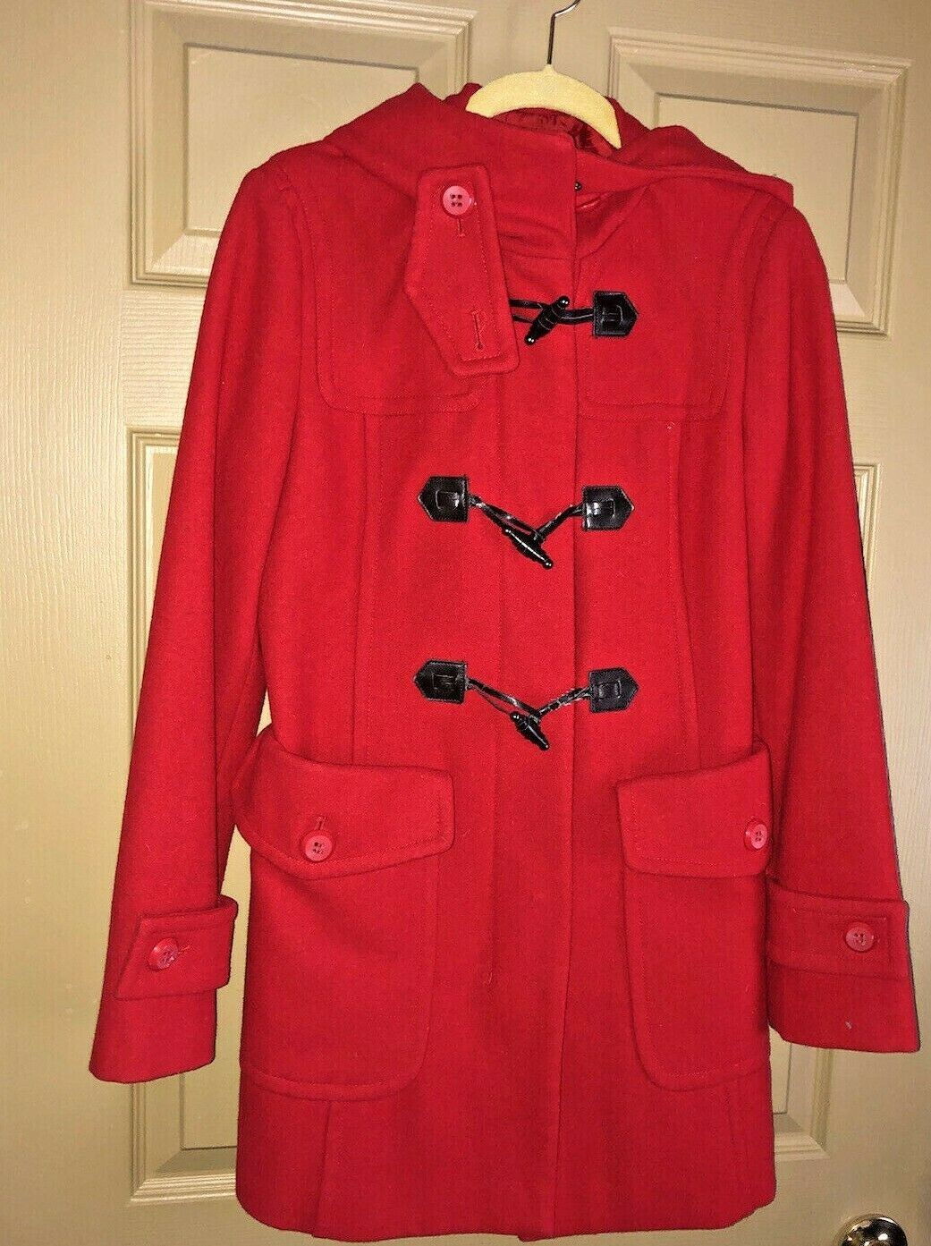 Benetton Red Duffel Hooded Jacket Coat Toggles Wo… - image 1