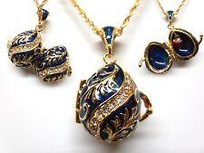 """Blue Flourish Easter Egg Pendant W/ 18"""" Chain heart inside swarovski crystal"""