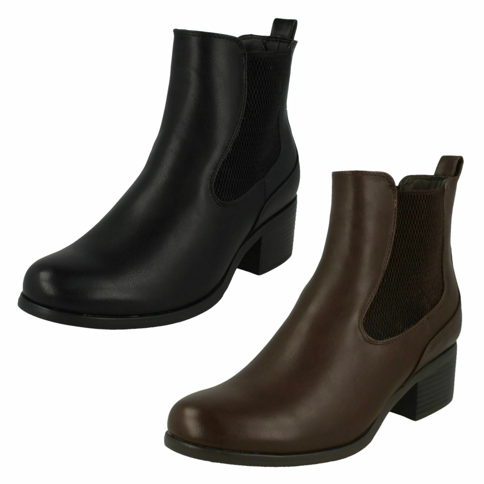 DOWN TO EARTH LADIES MID HEEL PULL ON TWIN GUSSET CHELSEA ANKLE BOOTS F50575