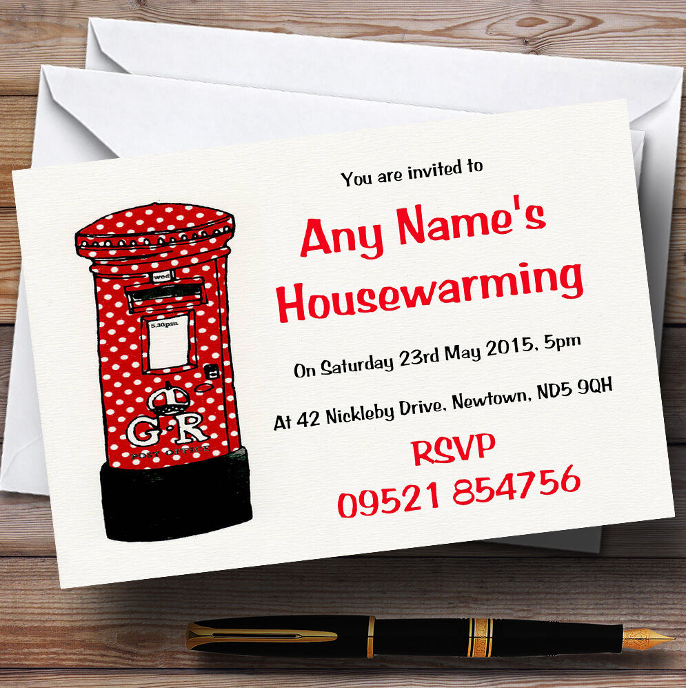 Letterbox New Home Housewarming Party Personalised Invitations