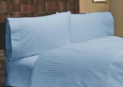 Cotton Light Blue Striped 8,10,12,15 Inch Deep Pkt Bedding Items 1000 TC Egyp