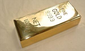Fake-fine-GOLD-bullion-Bar-paper-weight-6-034-prop-heavy-brass-polished-999-9-B
