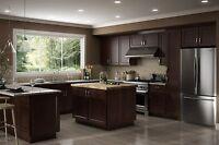 All Wood Rta 10x10 Luxor Espresso Shaker Kitchen Cabinets With Finger Grip Door