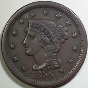 1855-Braided-Hair-Large-Cent-VF-N-8-R2-Middle-Die-State-B-Upright-5-039-s