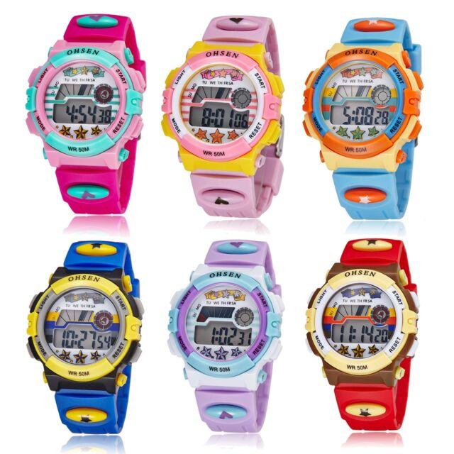 Waterproof Boy Kids Child Digital LED Quartz Alarm Date Sports Wrist Watch