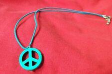 PEACE NECKLACE Retro TURQUOISE Hippie Charm Boho NEW HANDMADE Ships FREE to USA