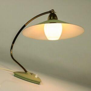Tisch-Leuchte-Schrumpflack-amp-Messing-Lese-Lampe-Vintage-Top-Design-50er-Jahre