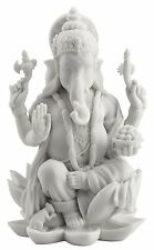 "Ganesh Ganesha Lord of Prosperity & Fortune White Statue - 7"" Tall"