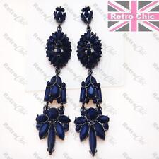 "BIG 3""long SAPPHIRE DARK BLUE vintage style CHANDELIER EARRINGS gunmetal black"