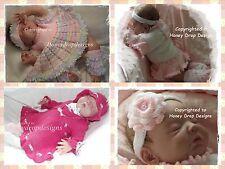 Honeydropdesigns * Ballerina Combo *3 PAPER KNITTING PATTERNS* Baby/Reborn