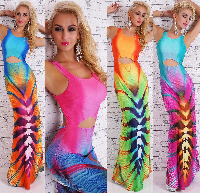 women Vestido Maxi Palabra De Longitud Cortar playa cóctel party MEGA Estampado