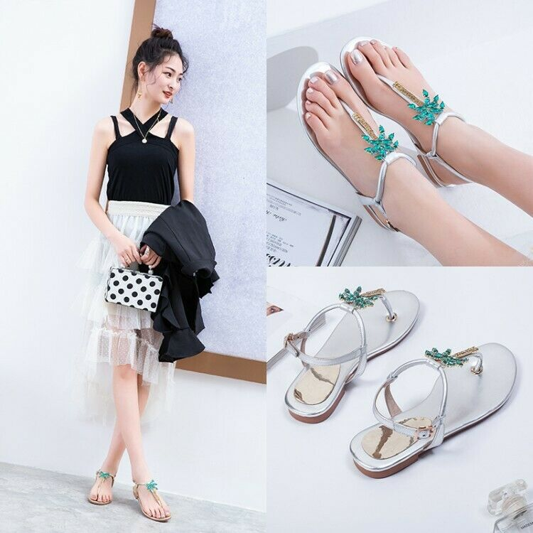 Womens Fashion Mettalic Thong Diamante Slingback Flat Beach Sandals shoes KMIC