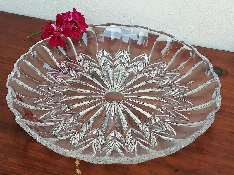 Antique Glass round serving plate