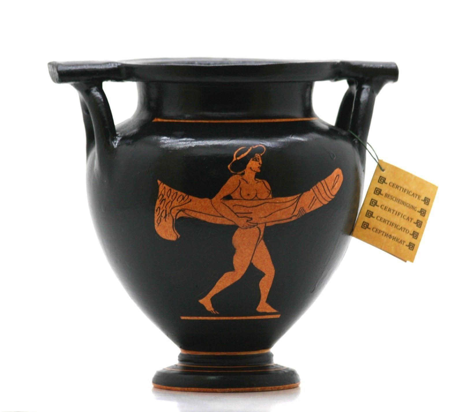 Falo pene cráter antiguo griego cerámica jarrón de cerámica de arte eróticas
