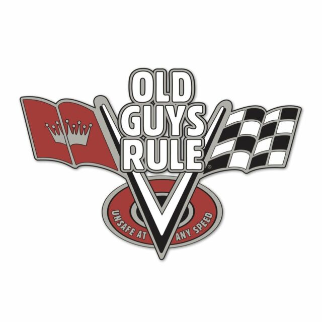 """OLD GUYS RULE """"V FLAGS UNSAFE AT ANY SPEED""""  3"""" X 4"""" HIGH QUALITY DECAL STICKER"""