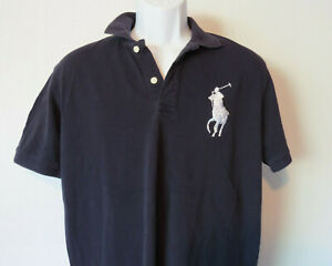 VTG-Polo-Ralph-Lauren-Big-Pony-3-Navy-Polo-Rugby-Mens-Medium-M-Blue-Tags-Missing