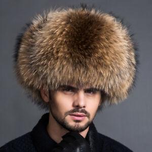 86774fd9d94 Mens Real Fox Fur Hats Winter Russian Ushanka Cossack Genuine ...