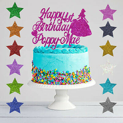 Remarkable Personalised Happy Birthday Princess Glitter Cake Topper Any Name Personalised Birthday Cards Paralily Jamesorg