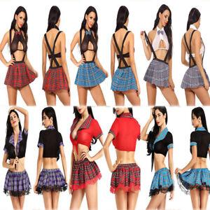 Sexy Women Sleepwear Uniform Naughty School Girl Outfit Fancy Dress Costume