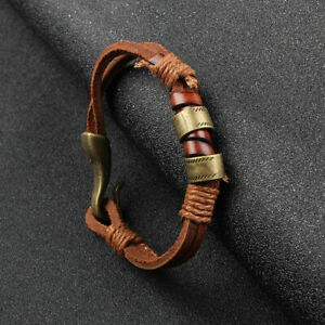 Fashion-Women-Mens-Surfer-Cool-Cords-PU-Leather-Bracelet-Wristband-Cuff-Brown