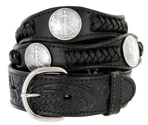 "Hagora Men 1-1//2/"" Wide Genuine Leather Braided Coin Conchos Metal Buckle Belt"