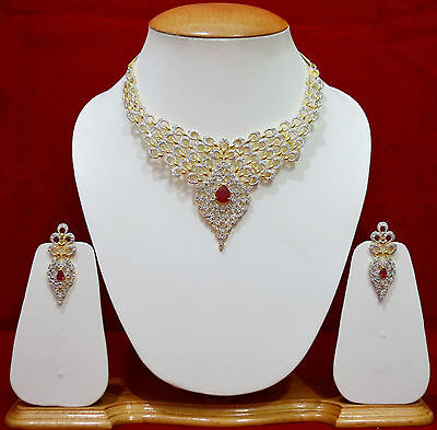 Awesome Indian Party Wear Wedding Jewelry AD Necklace Earring Sets Bridal F48n10